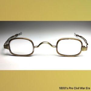 42fd80482cd4 Hallmarked Accessories - 1800 s Pre Civil War Era Antique Reading Glasses